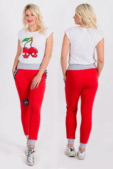 Красные брюки в стиле спорт шик Трикотажница